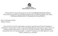Câmara realizará Audiência Pública sobre Reforma Administrativa no Serviço Público