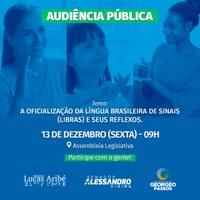 Lucas Aribé fará Audiência Pública conjunta sobre oficialização da Libras como segundo idioma brasileiro
