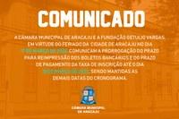 Prorrogado o prazo para pagamento do boleto bancário para o concurso da Câmara de Aracaju
